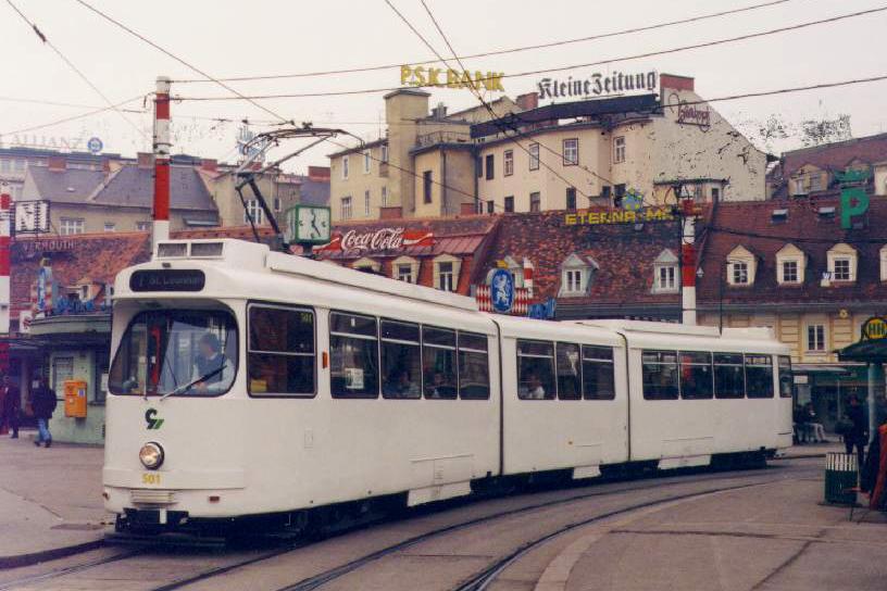 TW 501 ganz in weiss (Vorbereitung für Radio Steiermark-Werbung) am Jakominiplatz 11.02.1995©styria-mobile/User: Andi747