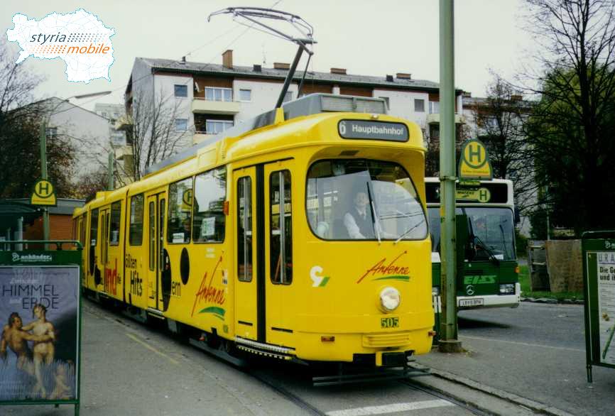 TW 505 mit noch nicht ganz fertiggestellter Werbung 01.11.1996©styria-mobile
