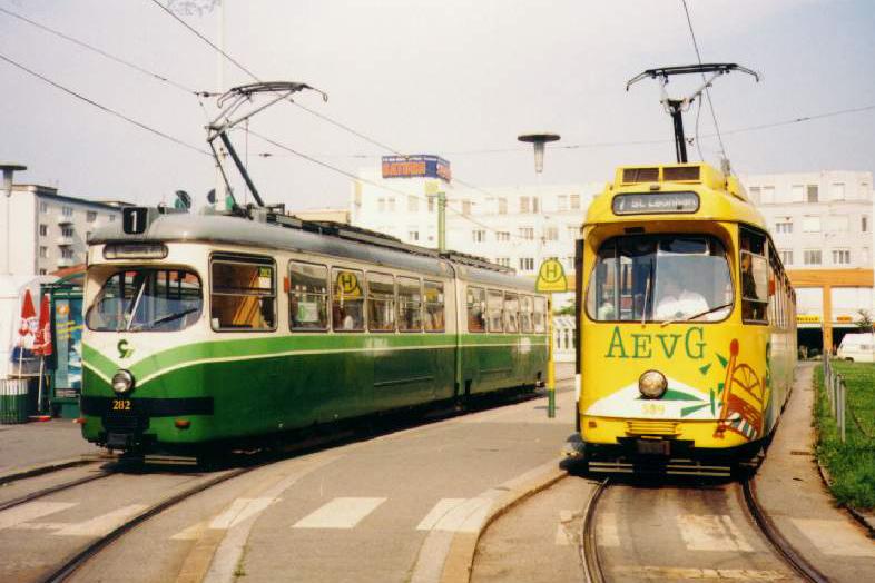 TW 282 und TW 509 am HBF 23.08.1997©styria-mobile