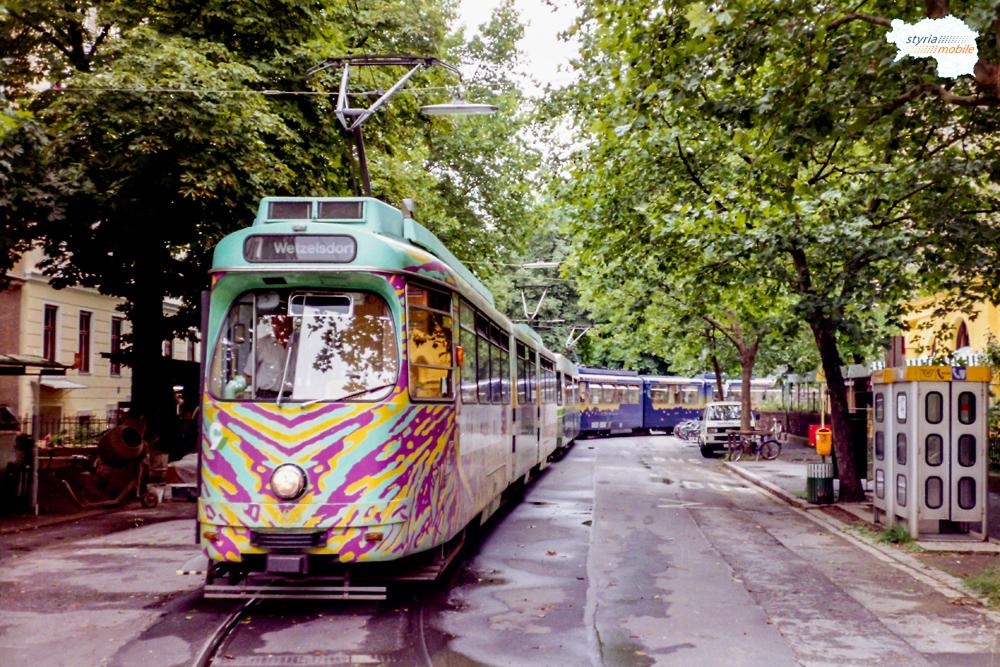 TW 503 als umgeleiteter 7er (nach Sturm) in der Krenngasse 28.07.1998 ©styria-mobile
