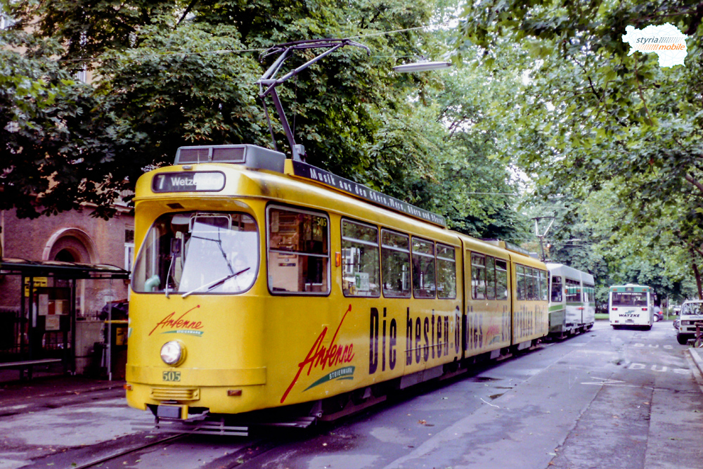 TW 505 als umgeleiteter 7er (nach Sturm) in der Krenngasse 28.07.1998 ©styria-mobile
