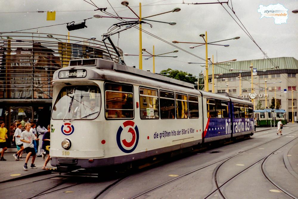 TW 510 als 5er am Jakominiplatz 19.08.1998 ©styria-mobile