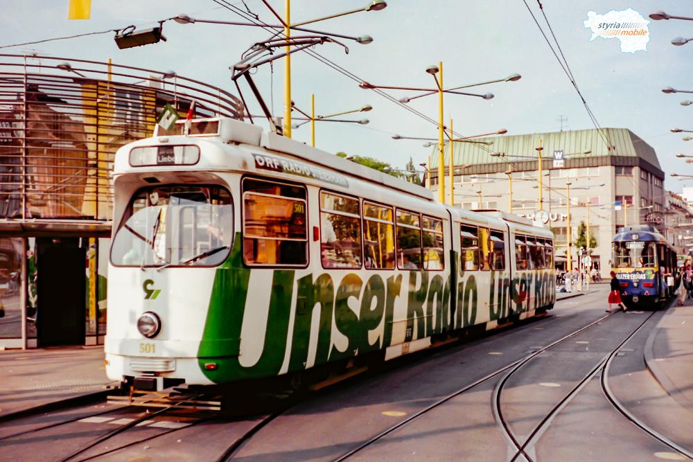 TW 501 als Stadioneinschub am Jakominiplatz 12.05.1998 ©styria-mobile