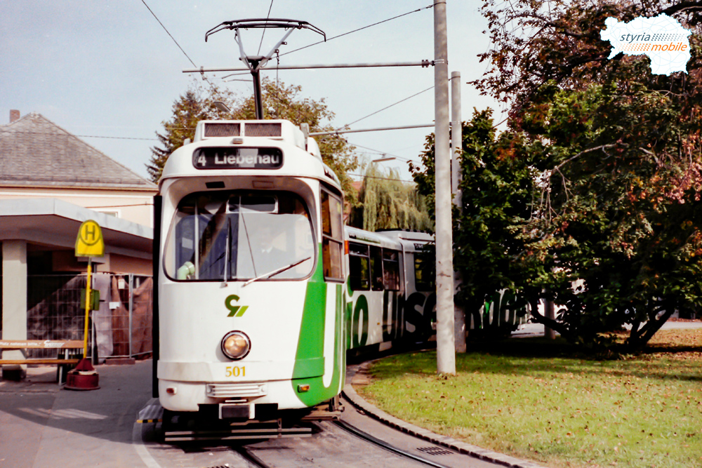 TW 501 als 4er in der alten Andritzer Schleife 19.10.1997 ©styria-mobile