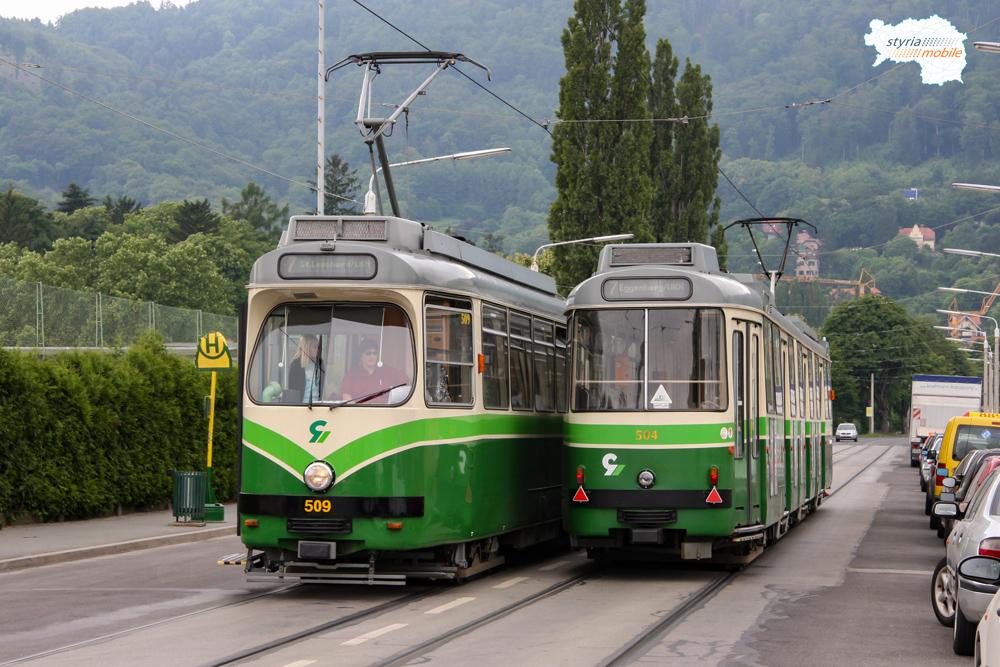 Zwei 7er kreuzen sich am 05.06.2009 in der Georgigasse ©styria-mobile