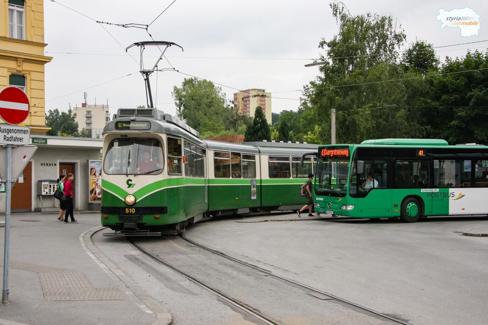 TW 510 als Linie E am Riesplatz 05.06.2009 ©styria-mobile