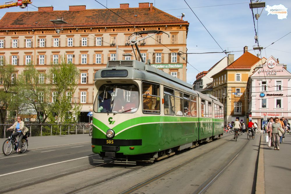 TW 505 als 3er am 10.04.2009 auf der Erzherzog-Johann-Brücke ©styria-mobile