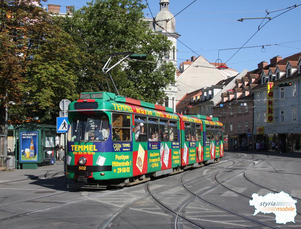 TW 502 als 6er am Jakominiplatz 27.07.2009 ©styria-mobile