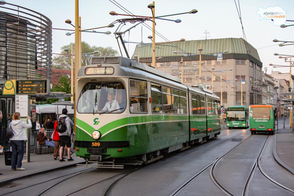 TW 509 als 13er am Jakominiplatz 21.04.2009 ©styria-mobile