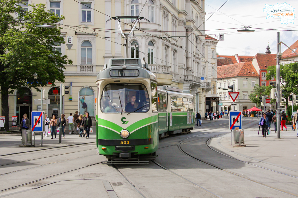 """TW 503 als Linie """"E"""" am Jakominiplatz 29.05.2009 ©styria-mobile"""