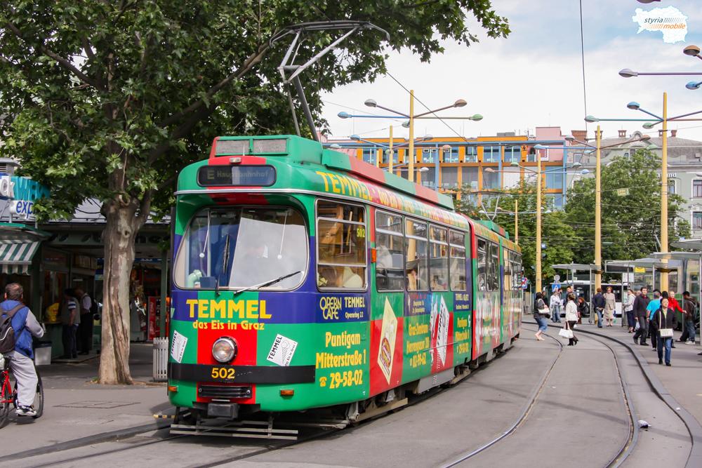 TW 502 als Linie E am Jakominiplatz 29.05.2009 ©styria-mobile