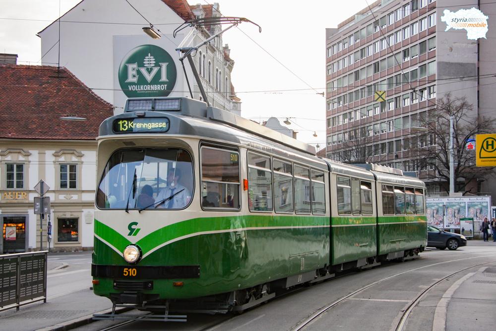 TW 510 als 13er am Dietrichsteinplatz 21.03.2010 ©styria-mobile