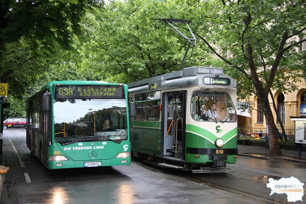TW 510 auf der Linie 13 mit einem Bus der Linie 63A 28.06.2009 ©styria-mobile