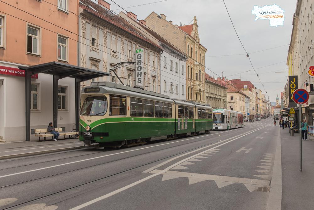 TW 509 gefolgt von CR 662 in der Haltestelle Esperantoplatz 06.10.2015 ©styria-mobile