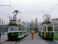 """TW 506 im """"Allerheiligeneinsatz"""" neben TW 201 mit Beiwagen ©styria-mobile/Fotograf02 01.11.1979"""