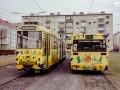 TW 504 und der im gleichen Design beklebte Bus 148 in der Remise III 29.03.1998
