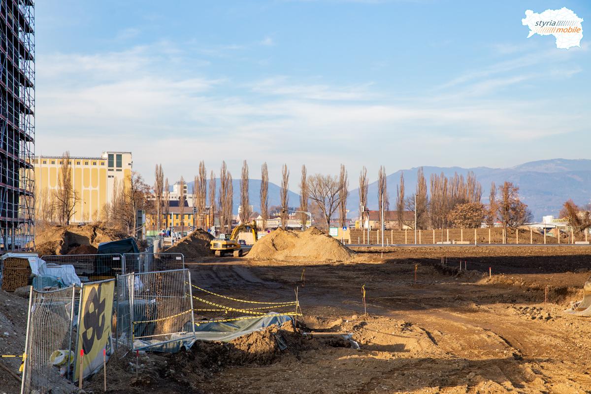 In diesem Bereich entsteht das Doppelgleis mit der neuen Straßenbahnendstation, 09.02.2019