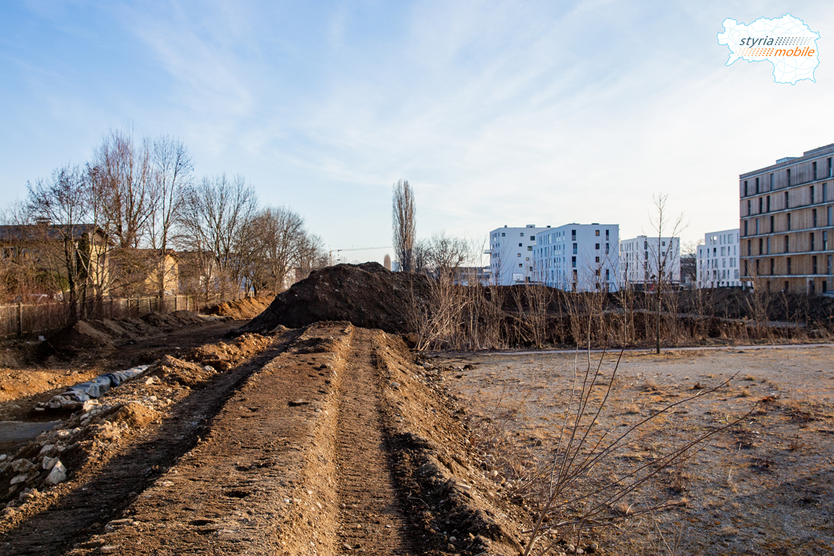 In diesem Bereich entsteht die Wendeschleife für die neue Straßenbahnendstation, 09.02.2019