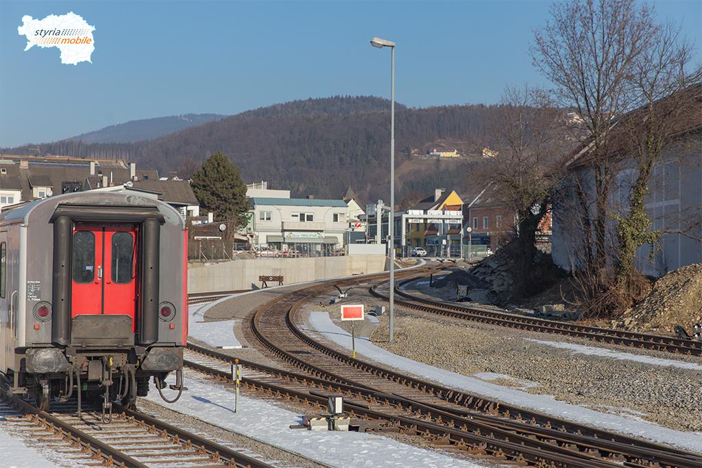 19.01.2017 Bahnhof Weiz, Blick zur neuen Strecke